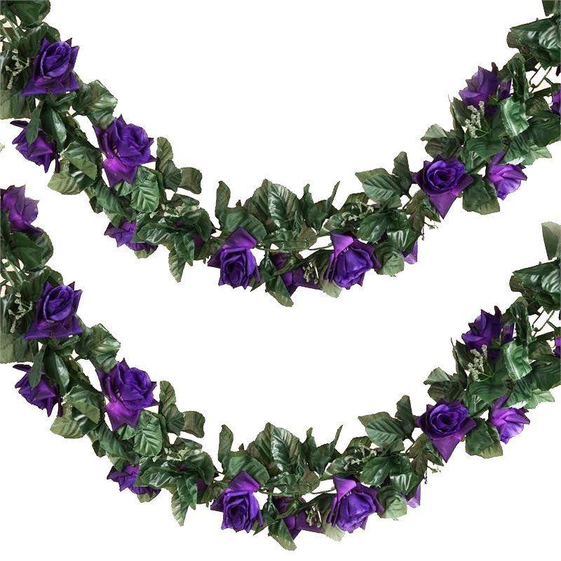 6ft Artificial Rose Silk Flower Chain Garland Wedding Arch Gazebo Decor Purple Flower Garland Wedding Flower Garlands Garland Wedding