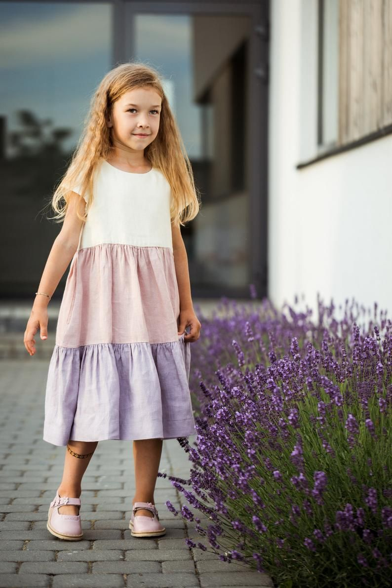 Spring dress with floral embroidery, Linen dress for girls Embroidered sundress Boho girl dress Girls sundress Kids summer linen dress