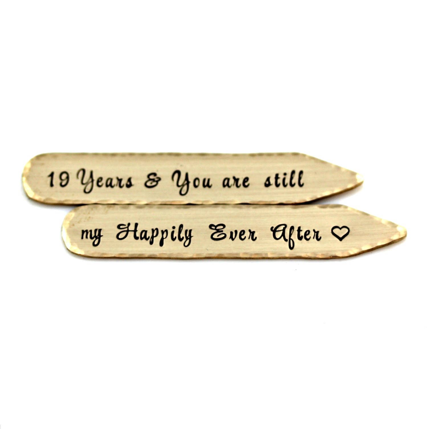 "19TH ANNIVERSARY BRONZE COLLAR STAYS Hand Stamped with ""19"