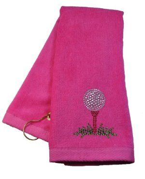 Navika Pink Golf Tee Towel Accented with Crystals by NAVIKA USA Inc on golf tee bags, golf tee magnets, golf tee mats, golf tee chairs, golf tee sheets, golf tee boxes, golf tee markers, golf tee flags, golf tee pots, golf tee plates,