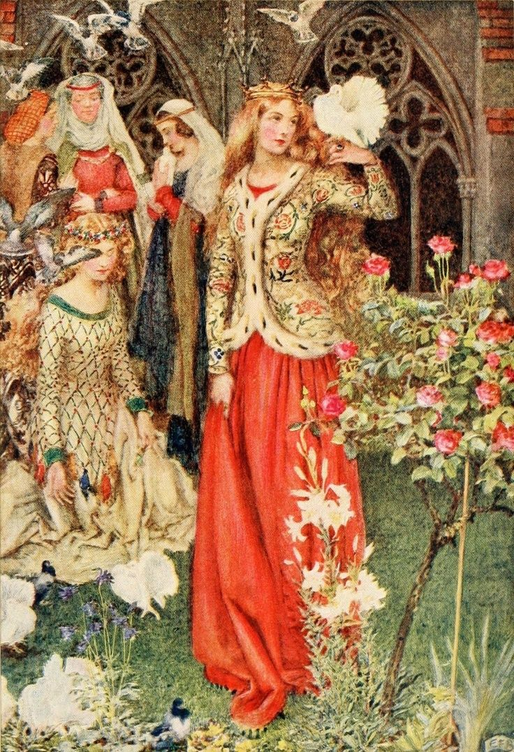 ⊰ Posing with Posies ⊱ paintings of women and flowers - Eleanor Fortescue-Brickdale ~ Guinevere ~Idylls of the Kingby Alfred Lord Tennyson ~ 1913