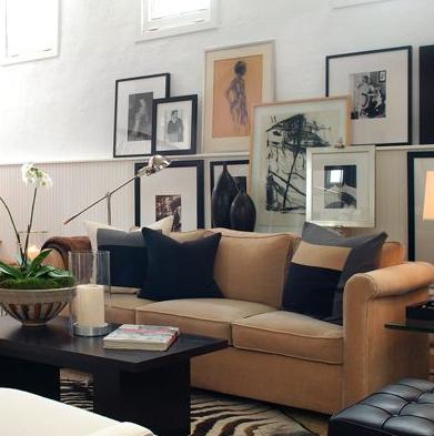 Camel And Gray Living Room - [rothdecor.com]