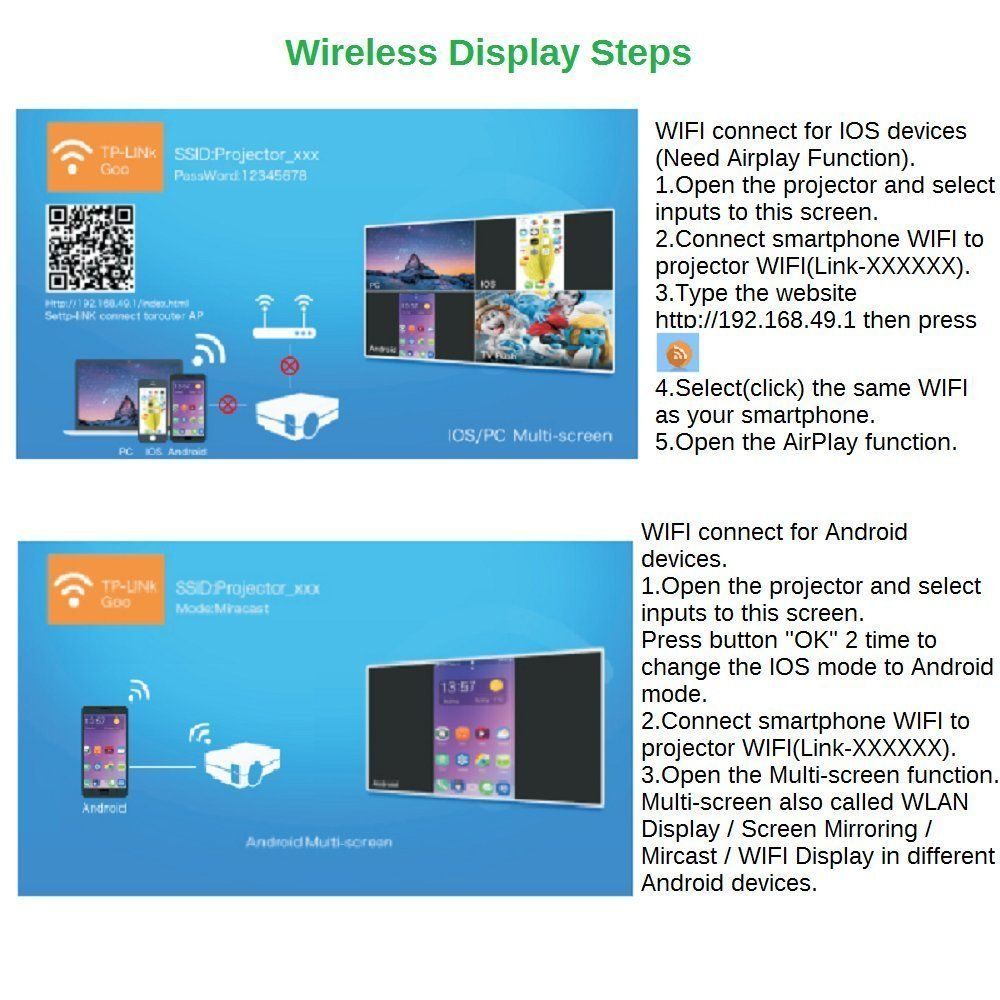 Junpro WiFi Miracast Airplay Support?Mini Portable Home Theater ...