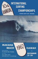 """1962  Makaha Hawaii   Rare Vintage  Surfing Contest   Poster   16""""x24""""   Giclee"""