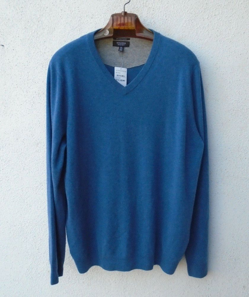 Nwt Norstrom Mens Shop Blue Cashmere V Neck Sweater Size Xxl Tall
