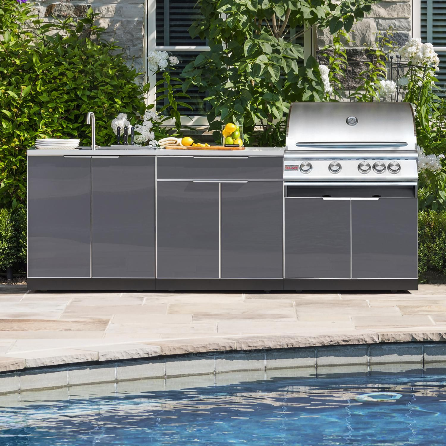 Blaze 6 Piece 32 Inch Propane Gas Outdoor Kitchen Package With Newage Cabinets Bbqguys Outdoor Kitchen Island Modern Outdoor Kitchen Outdoor Kitchen