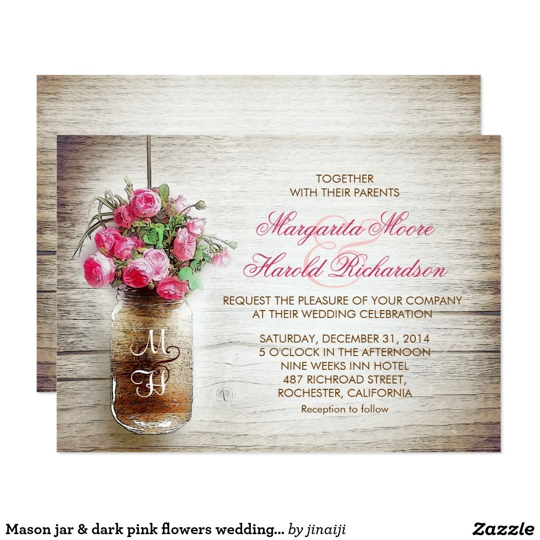 Mason jar & dark pink flowers wedding invites | Pink, Jars and Pink ...