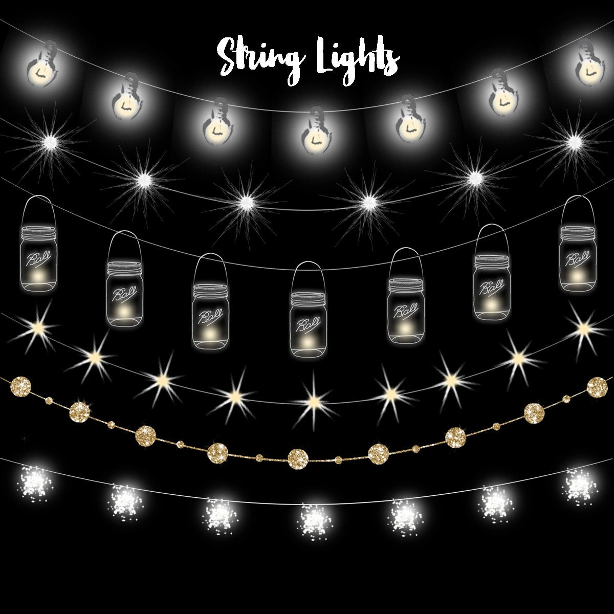 String Lights Clipart Fairy Party Mason Jar