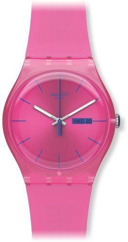 Swatch Women's SUOP700 Quartz Plastic Pink Dial Watch Swatch. $68.00. Water-resistant to 30 M (99 feet). Quartz movement. Case diameter: 41 mm. Casual watch. Plastic Crystal