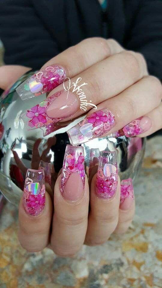 Uñas cristal con naturaleza | Nail Art Design\'s | Pinterest | Uñas ...