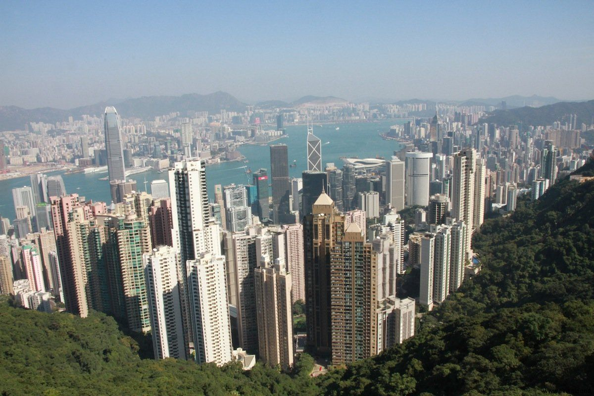Hongkong around Victoria Harbour seen from the Peak Tower viewing area at 428 metres above sea level. Great view, I think :)
