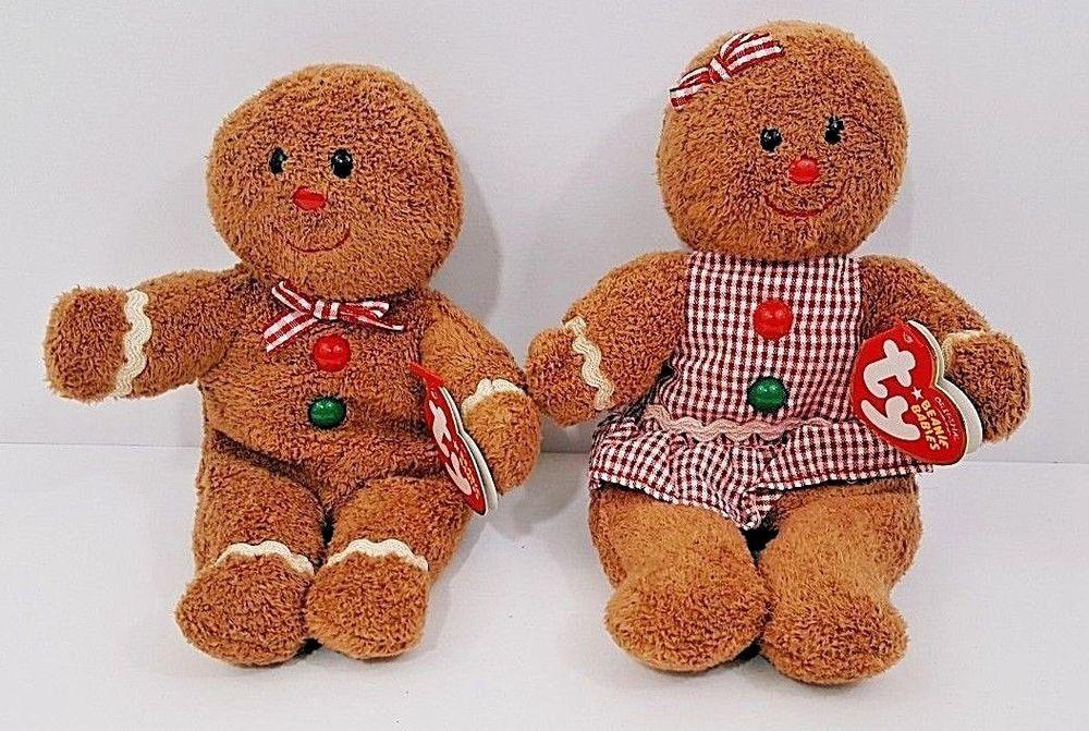 f84daa6a669 TY Beanie Babies Hansel   Gretel Gingerbread Man   Girl - 2 Mint W Mint  Tags NEW  Ty