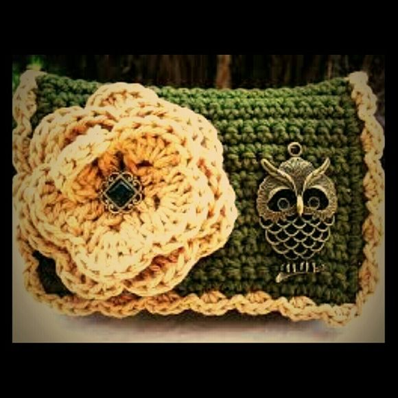 Handmade Owl clutch Handmade by me of worsted weight yarn and cute little accented owl next to flower this clutch measures approximately 5 by 8 inches and has one inside pocket and a snap closure... I can customize in any color but this 1 is army green and tan... Pair with a posh set off skinny jeans and a boyfriend jacket and your off and going!! Bags Clutches & Wristlets