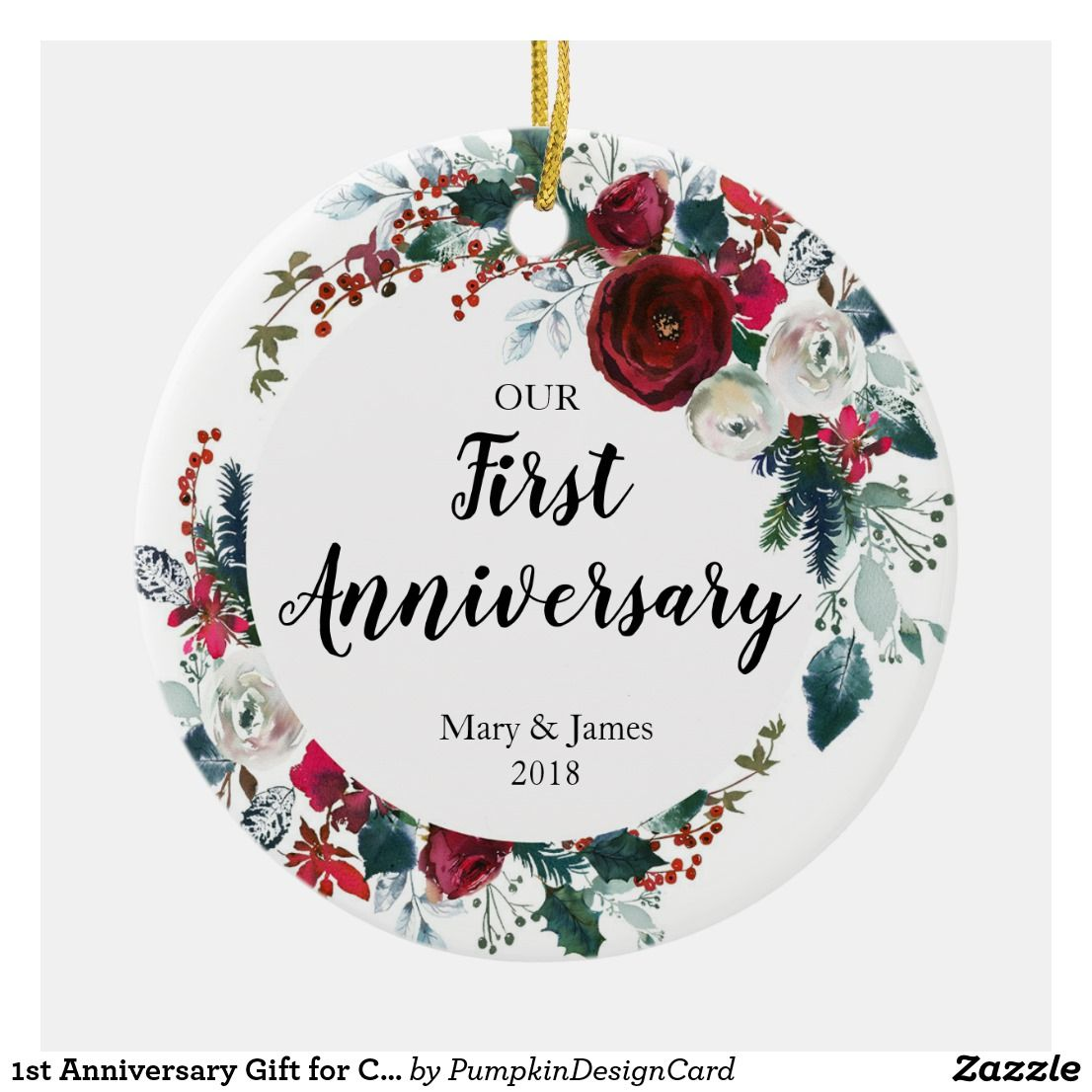 1st Anniversary Gift for Couple Ornament