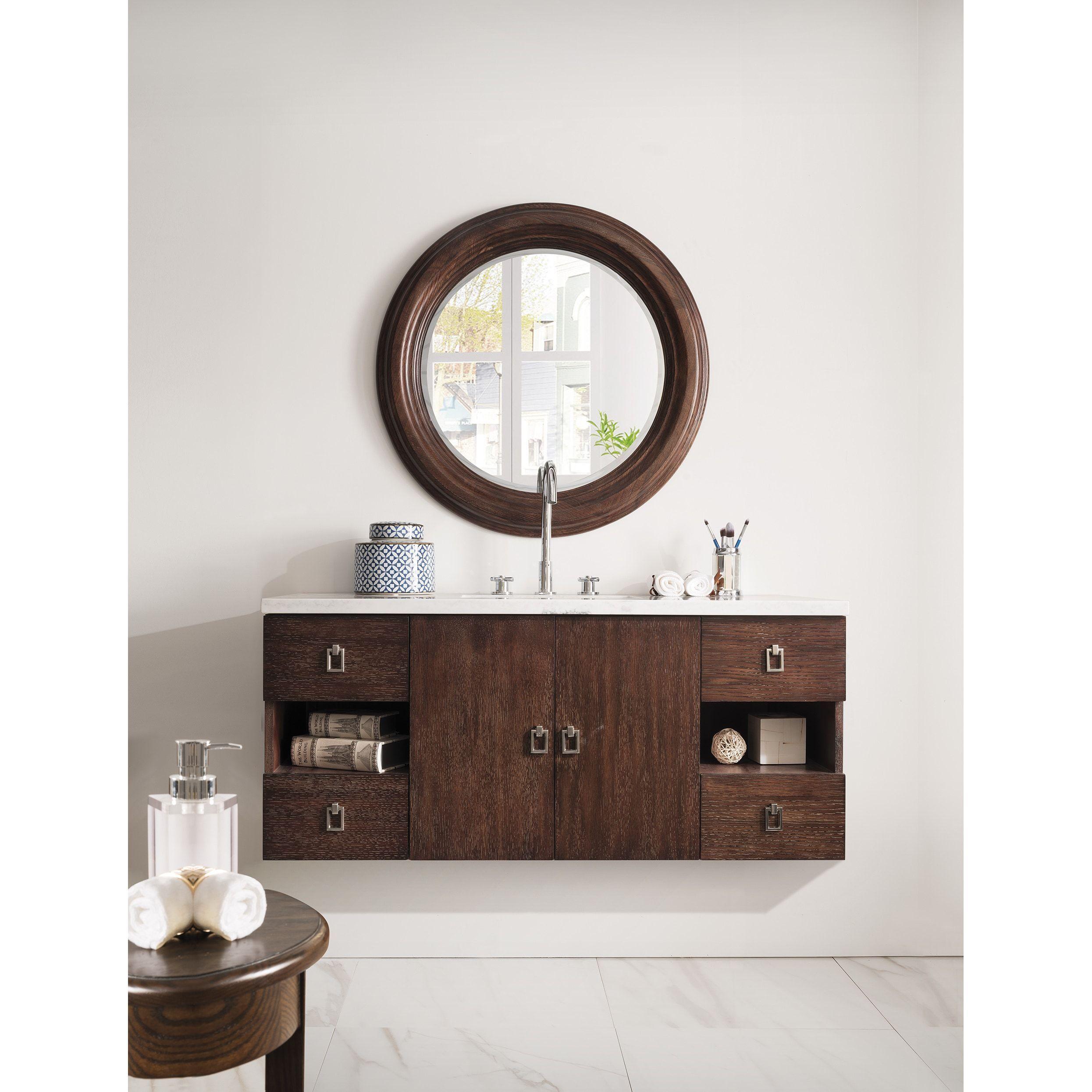Sonoma 48-inch Coffee Oak Floating Single Vanity   Overstock.com ...