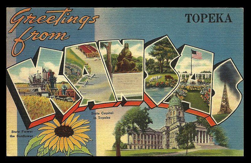 Kansas Greetings Postcard Topeka Scenic Large Letter Capitol Flower PC