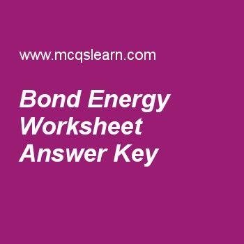 Bond Energy Worksheet Answer Key Ap Chemistry Pinterest