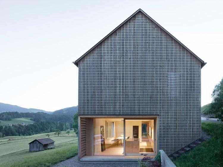 Austrian Latticework Exterior Facade, Modern Barn House