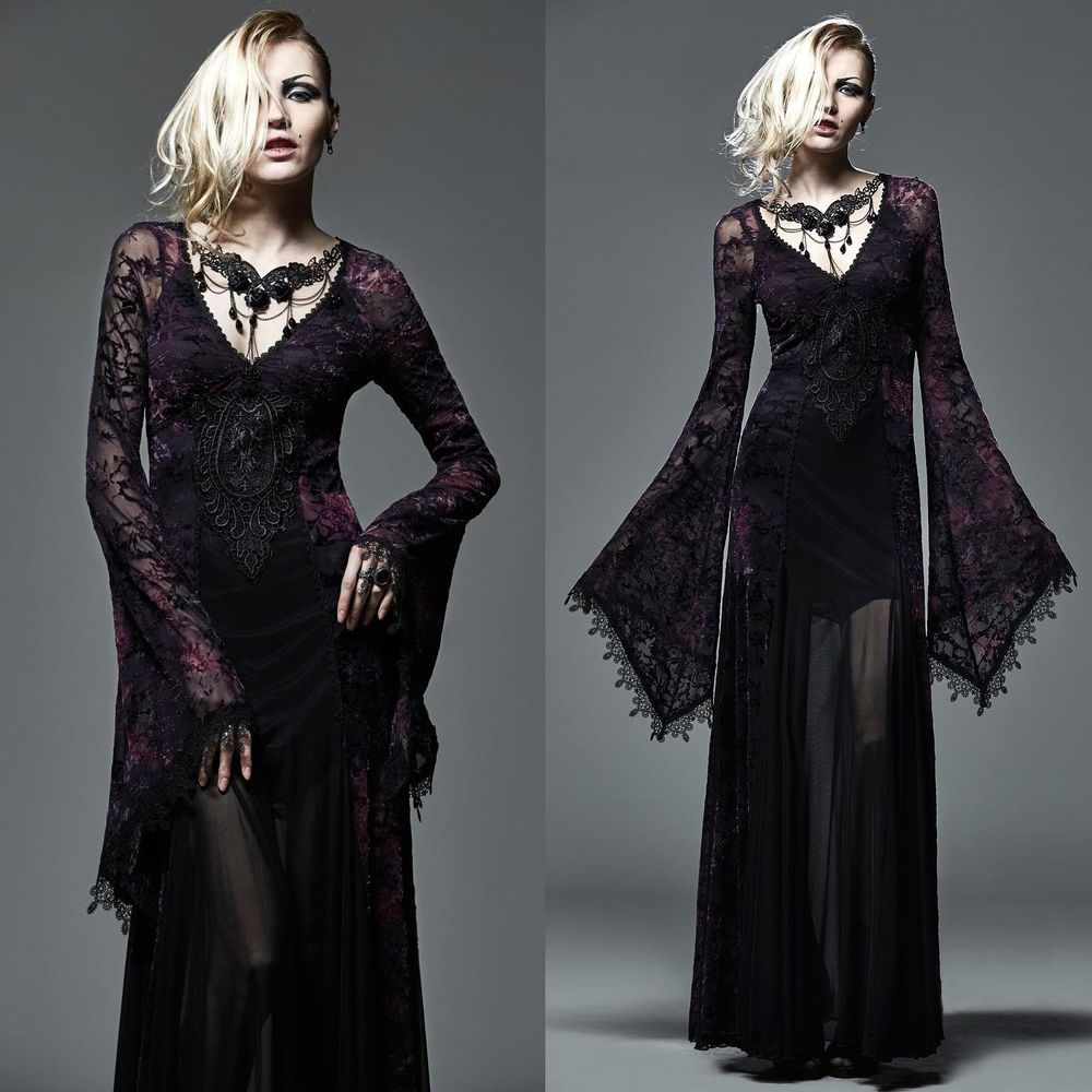 Punk rave dark violet dress hexenkleid elbenkleid gothic medieval witch dress