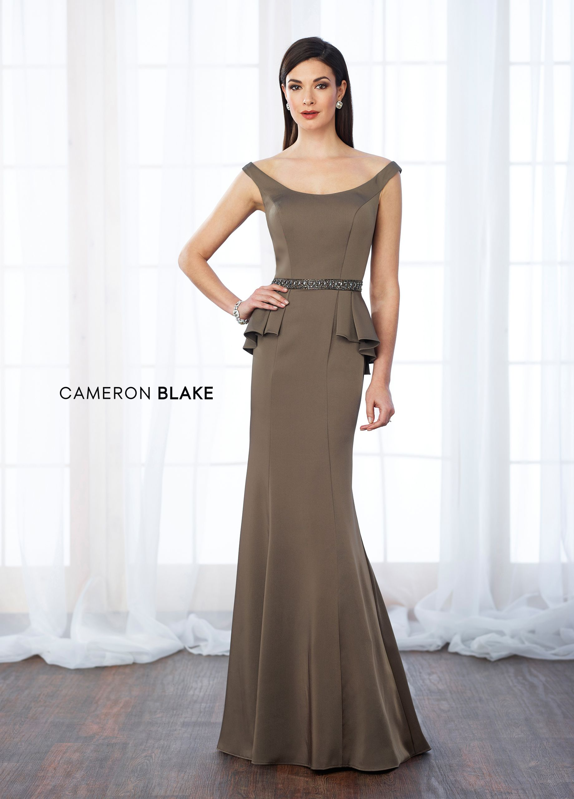 9bf388da976 Cameron Blake 217640 - Tip-of-the-shoulder crepe fit and flare gown with  front and back wide scoop necklines