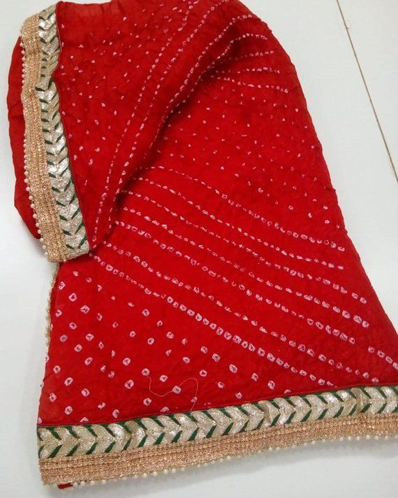 bebe01366d Gota Patti Work red color Indian Saree Traditional Saree Silk Bandhej Saree  Rajasthani Bandhani Sar