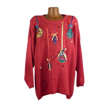 Ugly Christmas Sweater Vintage 1980s Ornaments Holiday Tacky Xmas