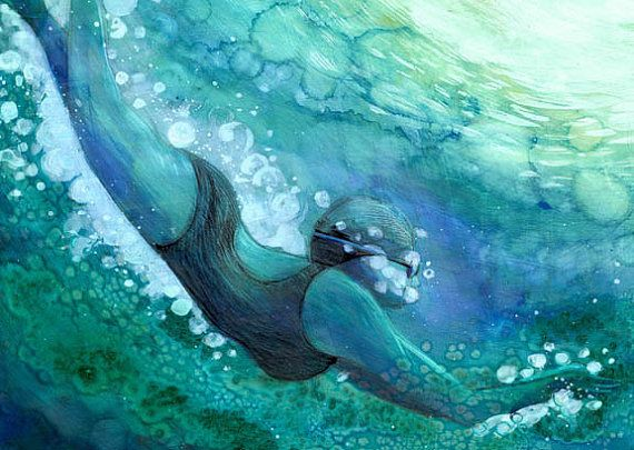 Watercolor Swimming Watercolor Print Watercolor Illustration