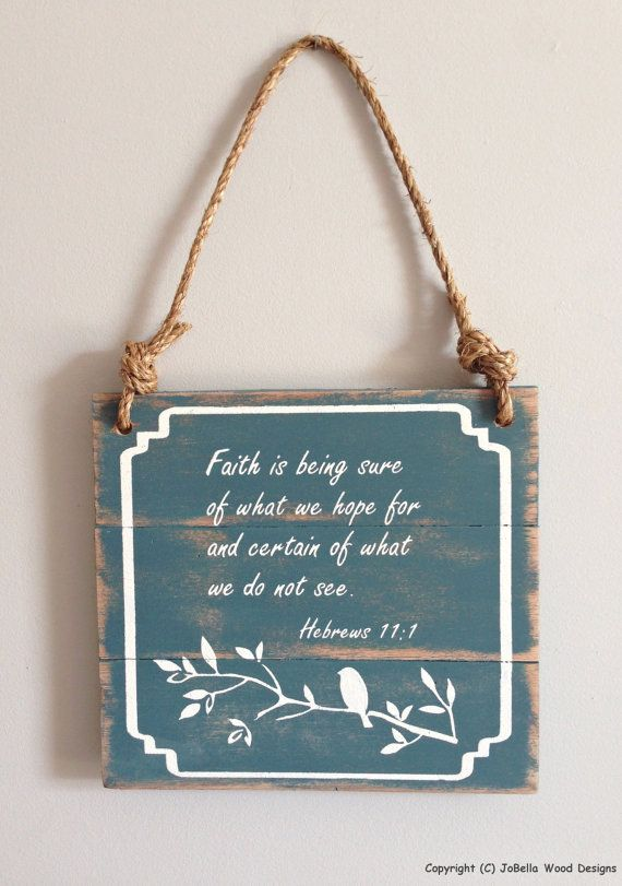 Distressed Handmade Faith With Birds Wood Painting Rope Hanger Christian Wall Art That Fits Shabby Chic