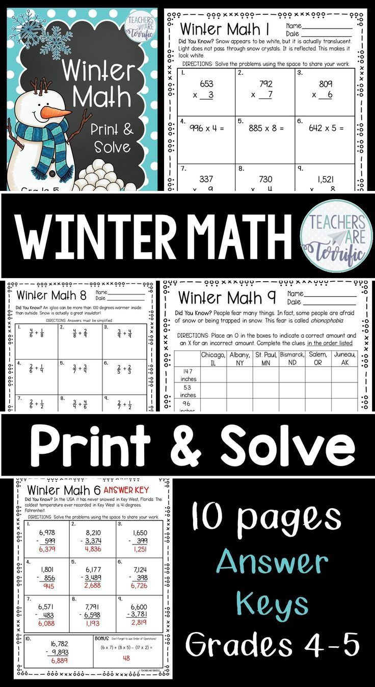 Winter Math Print and Solve Gr. 5 | Math sheets, Math ...