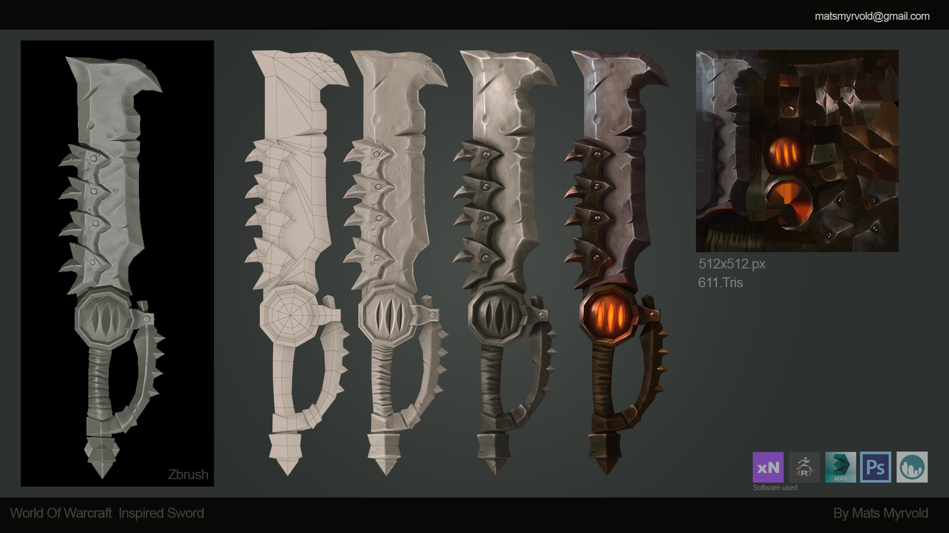 Hand Painted Blizzard inspired sword Texturing and modeling