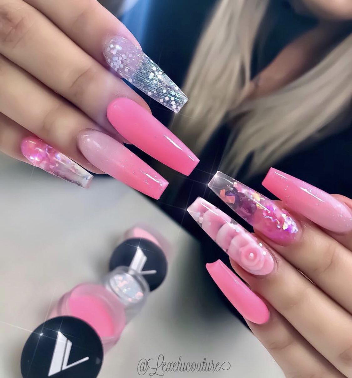 Extra Long Pink Ombre Coffin Nails With Roses And Silver Glitter Pink Nails Pink Acrylic Nails Cute Nails