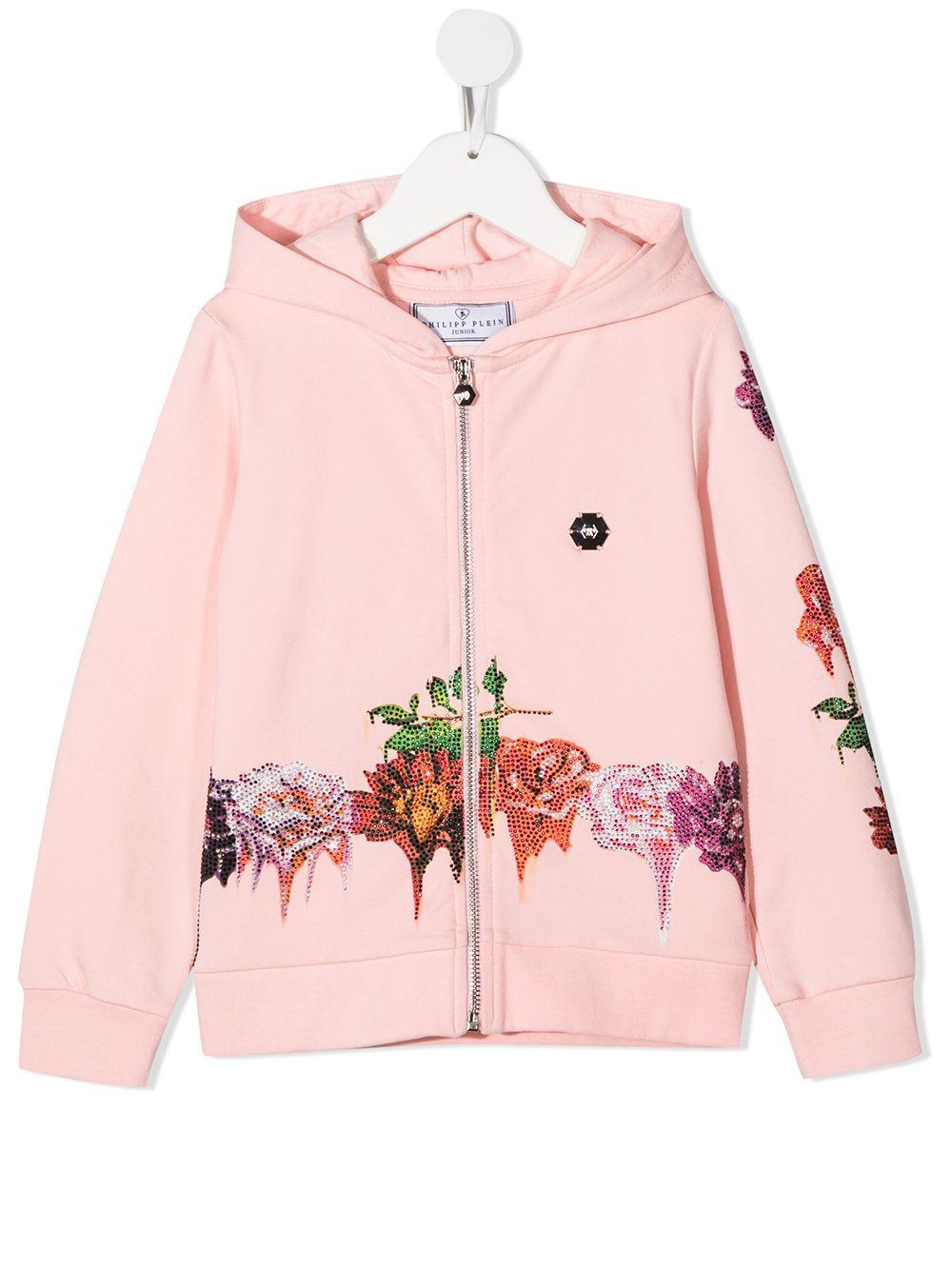Philipp Plein rose embellished zip hoodie - Pink