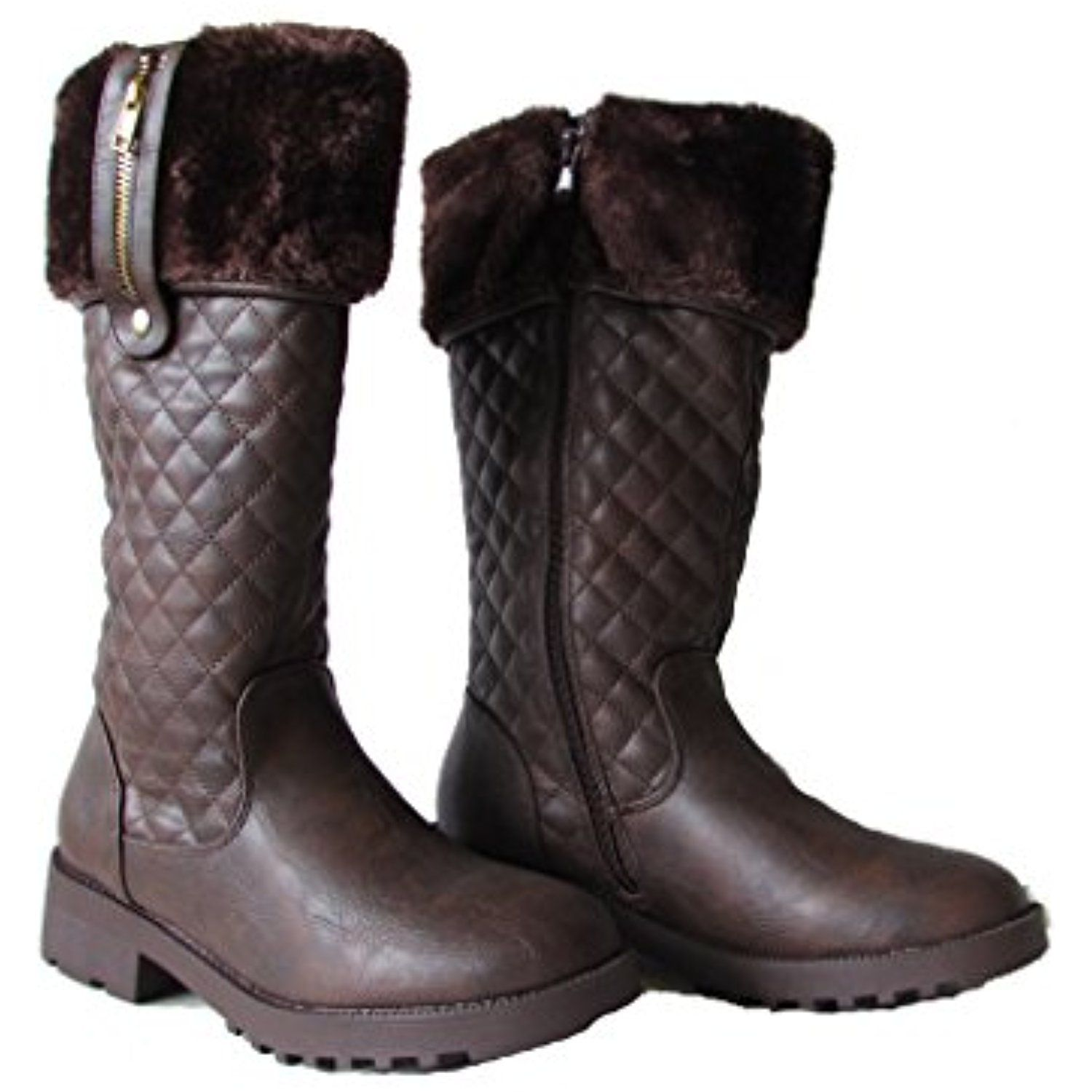 Daytona-34 Womens Deco Diamond Quilted Knee High Equestrian Style Snow Boots Brown