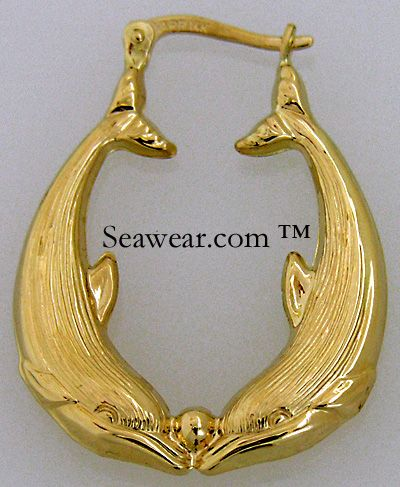 Kissing Dolphin Earrings 14k Gold 14kt Puffed Double Dolphins High Polished Finished On Both