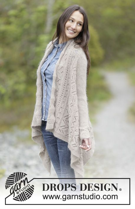 Falling Leaves - Knitted DROPS jacket worked in a square in garter ...