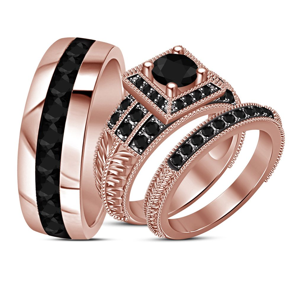 K rose gold plated silver black diamond engagement ring his