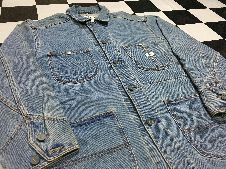 Vintage Calvin Klein Denim Jacket Chore Coat Ck Jeans Jacket Button Down Size M Good Condition By Alivevintageshop On Et Denim Jacket Jacket Buttons Chore Coat