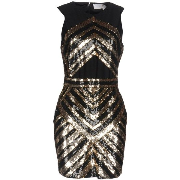 64447c3957de Elisabetta Franchi Gold Short Dress ($350) ❤ liked on Polyvore featuring  dresses, black, sleeveless cocktail dress, stretch dresses, sleeveless  jersey, ...