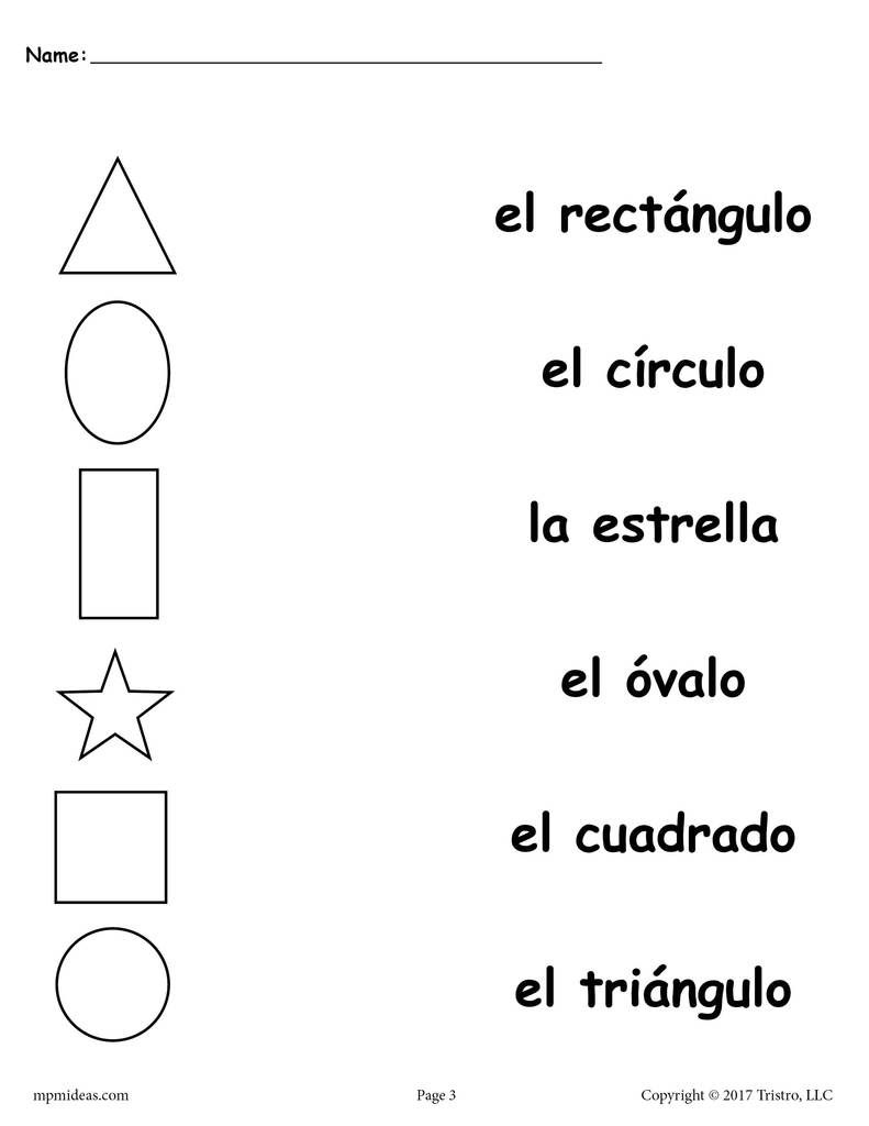 4 Spanish Shapes Matching Worksheets Learning Spanish Preschool Spanish Spanish Lessons For Kids