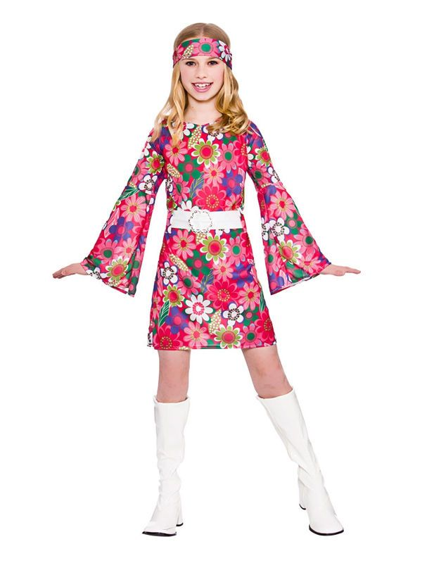 Kids 60s 70s Flower Power Groovy GoGo Hippy Girls Fancy Dress Party ...