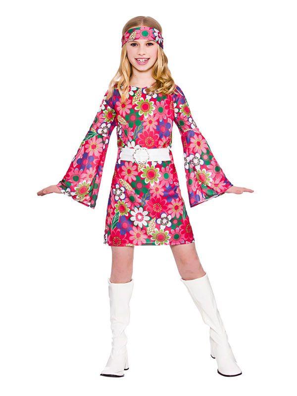 5320d3a1e6dda Kids 60s 70s Flower Power Groovy GoGo Hippy Girls Fancy Dress Party Costume  5-13