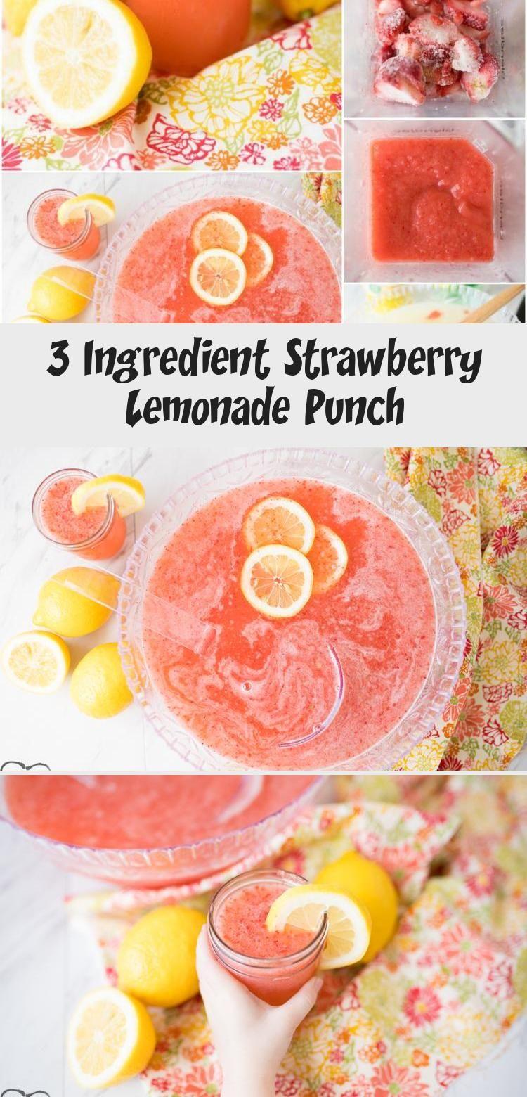 3 Ingredient Strawberry Lemonade Punch - Food and Drinks #lemonadepunch