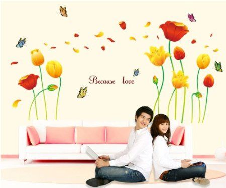 Wall Decals YYone Because Love Quote Red Yellow Flowers - Yellow flower wall decals