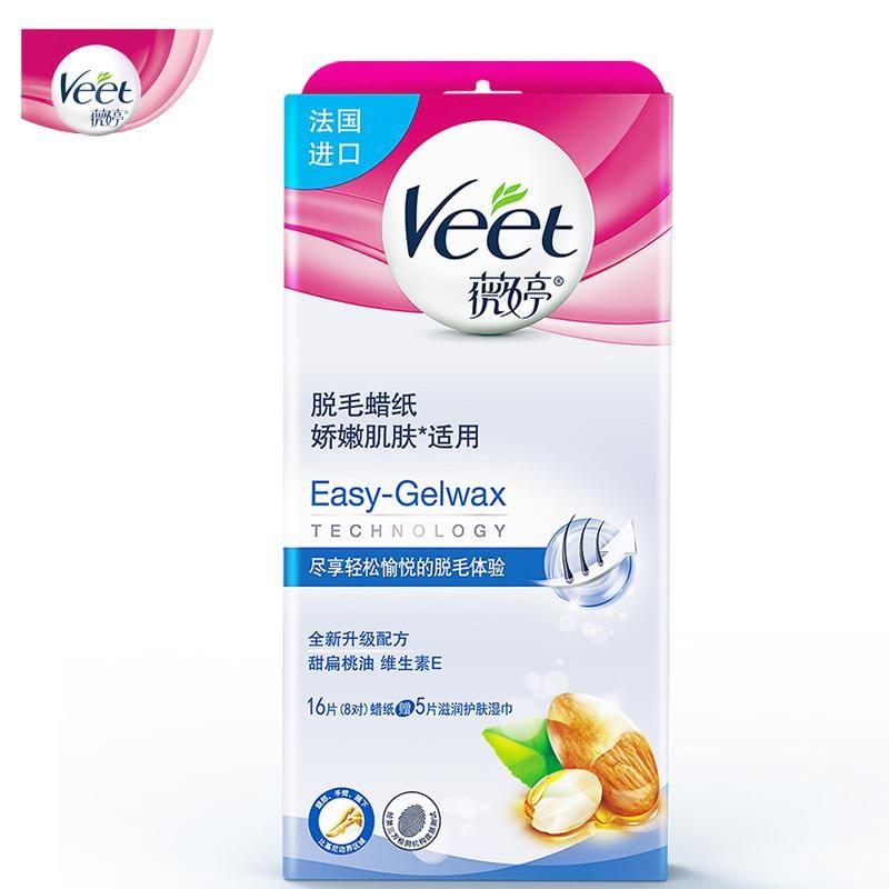 Veet 16pcs Sensitive Skin Hair Removal Cold Wax Strips Nonwoven Depilatory Paper Moisturizing Beard Epilator Wax