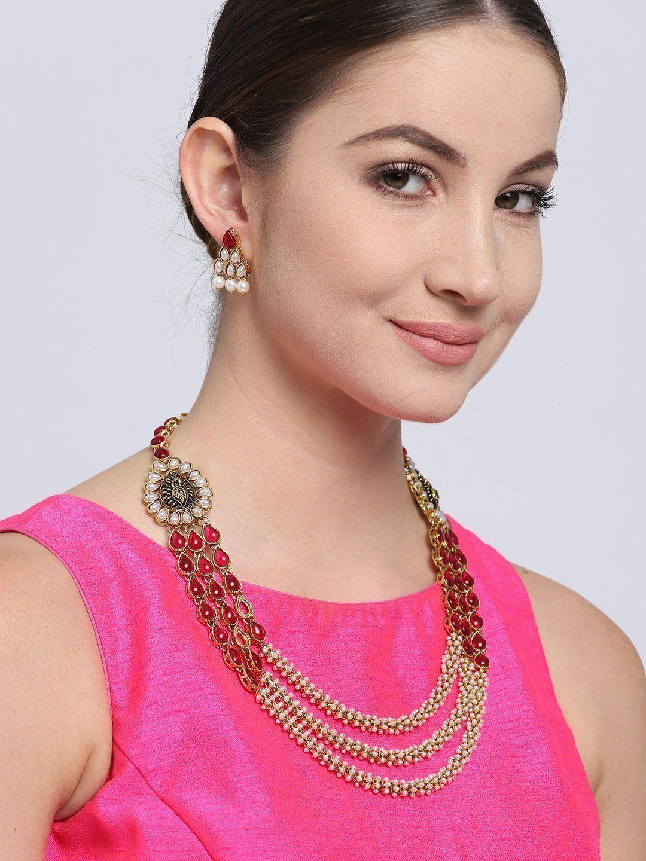 Zaveri Pearls Antique Gold Tone Peacock Inspired Multi Layer