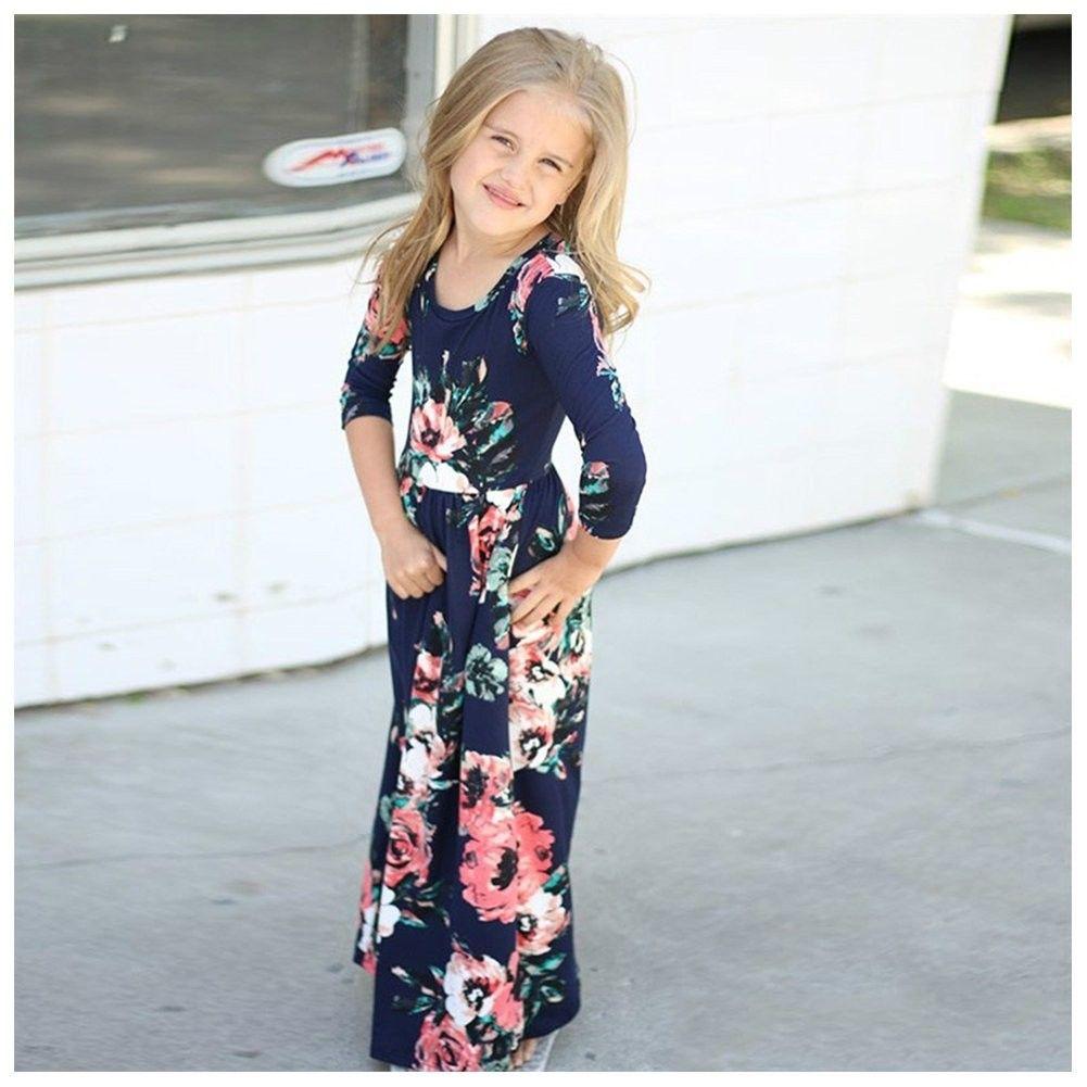 Long Floral Maxi Dresses For Girls Round Collar Little Girls Long Sleeve Dress 1 11 T Dark Blue Cl188nllyu5 Long Floral Maxi Dress Girls Dresses Summer Toddler Maxi Dresses [ 1001 x 1001 Pixel ]