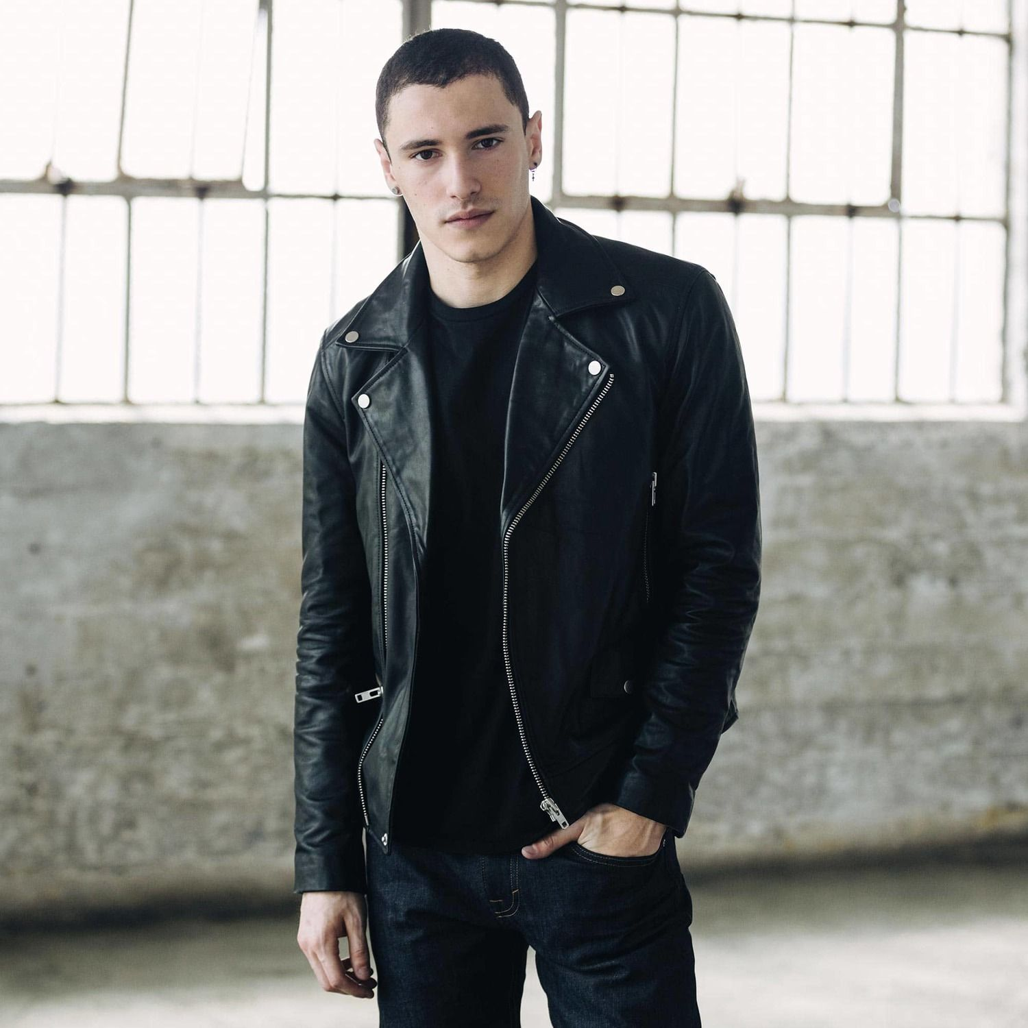 [Collection] Mens Leather Moto Jacket in Black Leather