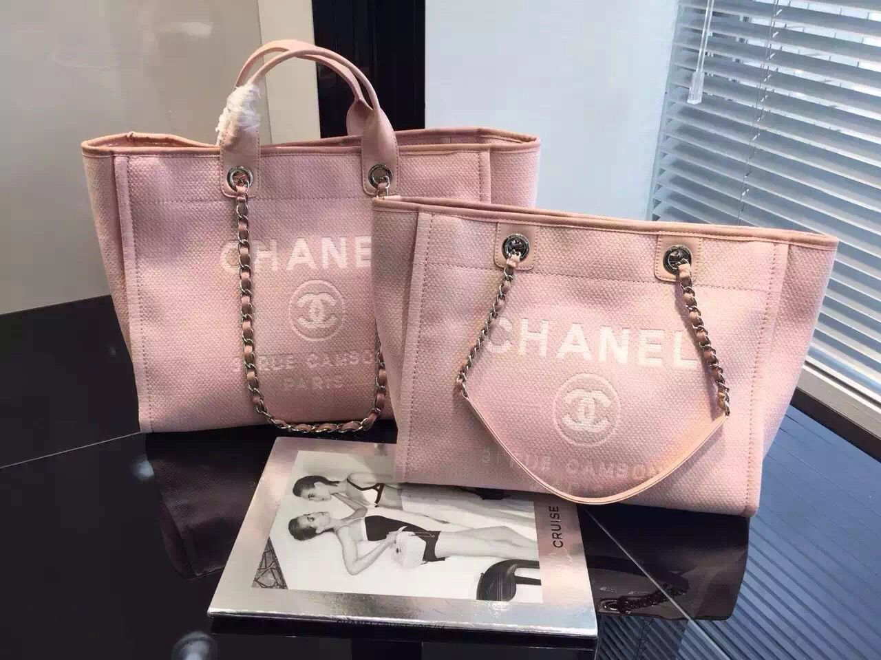 Chanel Toile Deauville Canvas Shopping Tote Bag 2015-2016 Collection ... d4fed89645