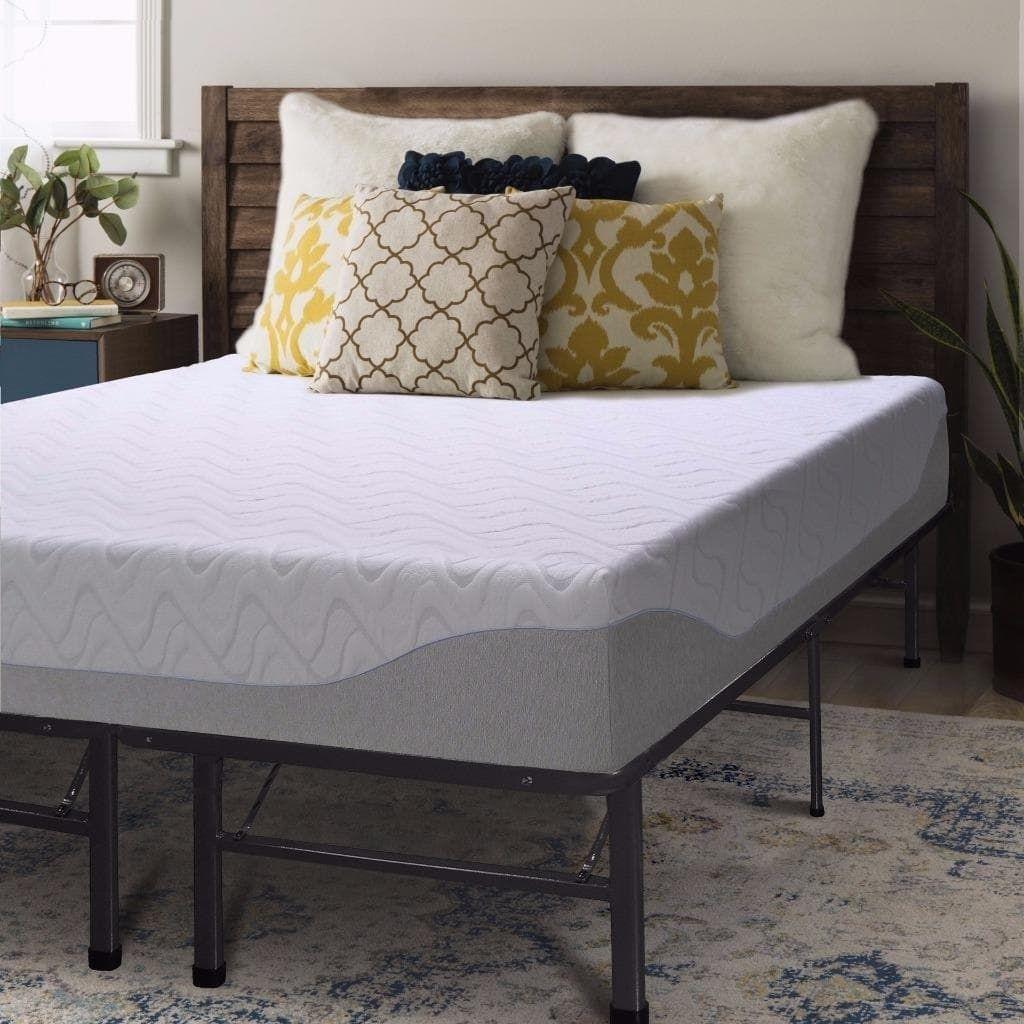 9 Inch Gel Memory Foam Mattress And Steel Bed Frame Set Crown
