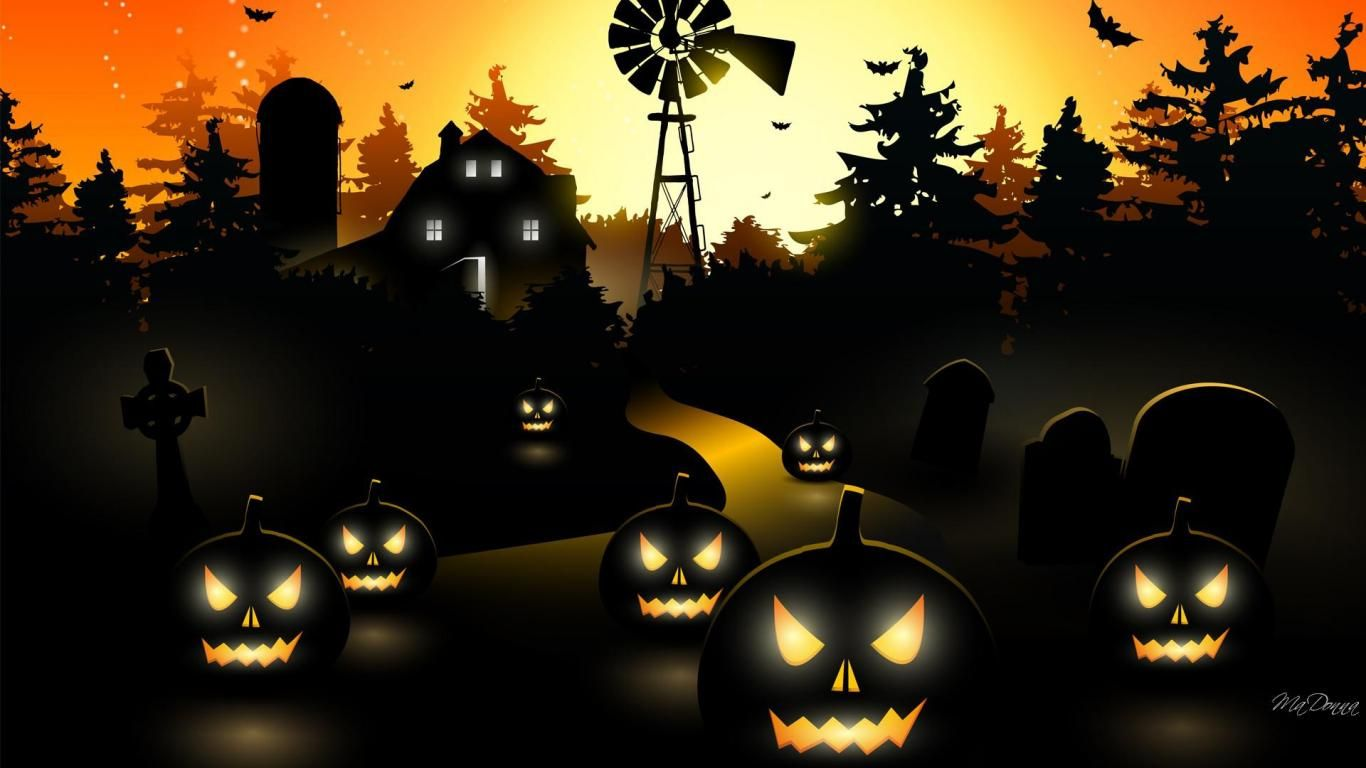 Haunted Halloween Farm Hd Wallpaper Halloween Wallpaper Backgrounds Free Halloween Wallpaper Halloween Images